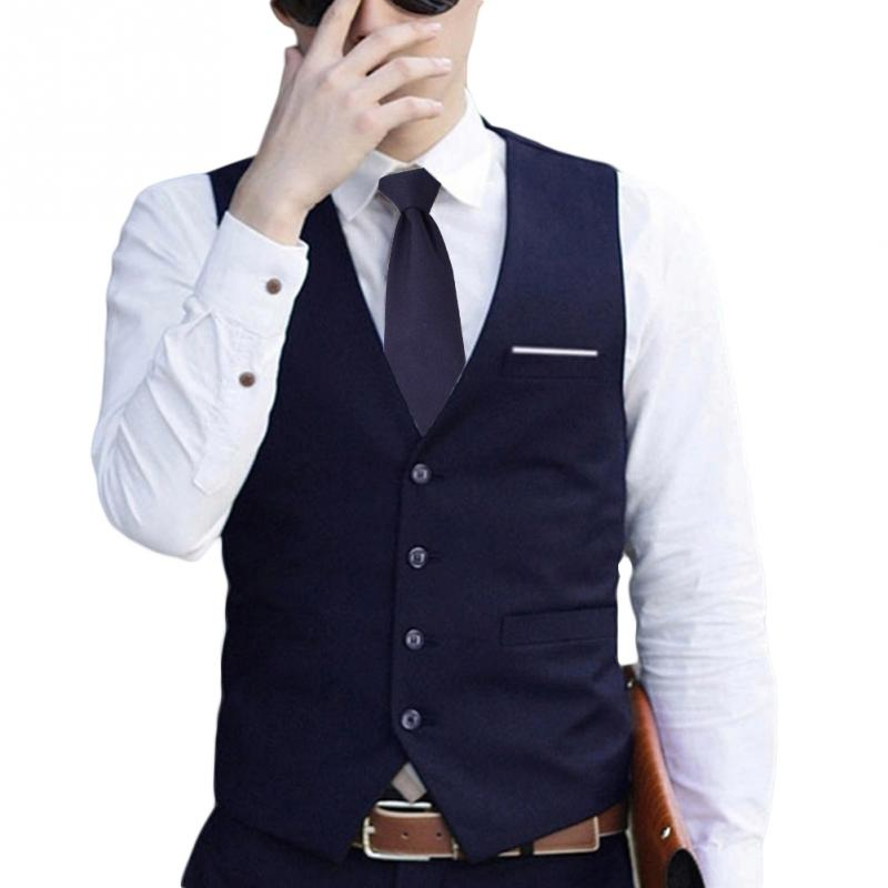 Fashion Men V Neck Formal Business Waistcoat Vest Suit Slim Fit Tuxedo Casual Dress Coat Gilet 3 Colors