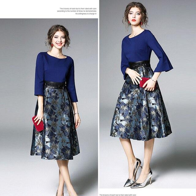 Bonnie Thea Autumn women's midi dress elegant blue Jacquard dress female long Sleeve ladies dresses Evening party dress clothes 5