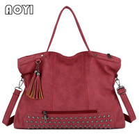 AOYI Tassel Women Casual Tote Fashion Lady Crossbody Messenger Bags Vintage Nubuck Leather Bags Large Top