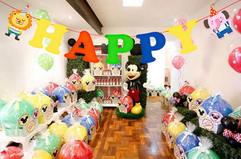 Cartoon Animals Happy Birthday Decoration Candy Wedding Bar Bunting Supplies Babyshower Wreath Slingers Garlands Party Decor in Banners Streamers Confetti from Home Garden