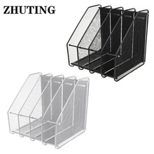 Column Metal Mesh File Holder Document Rack Letter Magazine Newspaper Tray for Desk Organizer Home Office Supplies Document Tray 3 layers moving document file tray holders desk set book holder organizer a4 office school supplies desk accessories