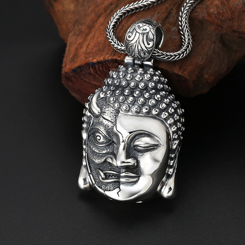 S925 Sterling Silver Buddhist Ornaments Ornaments Thai Silver One Between The Buddha Magic Men And Women Pendants With PeaceS925 Sterling Silver Buddhist Ornaments Ornaments Thai Silver One Between The Buddha Magic Men And Women Pendants With Peace
