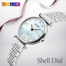 SKMEI New Fashion Women Quartz Watches Casual Dress Girls Wristwatches Rhinestones Waterproof Rose Gold Silver Ladies Watch 1223