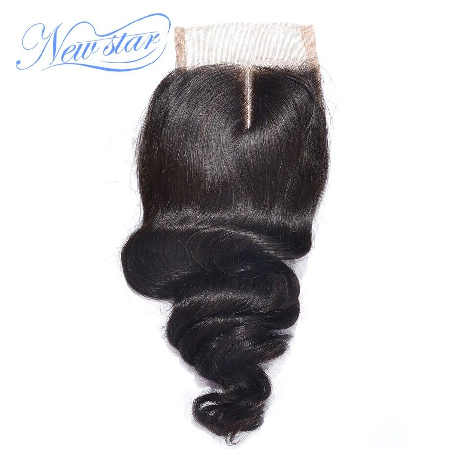New star волос бразильский закрытие шнурка свободная волна натуральная человеческих волос средней части отбеленные узлы швейцарский шнурок п...