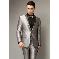 2018 New Single Breasted Silver Gray Wedding Men Suits Tuxedo Best Young Men Party Wear Blazer Smoking Suit Jacket + Pants