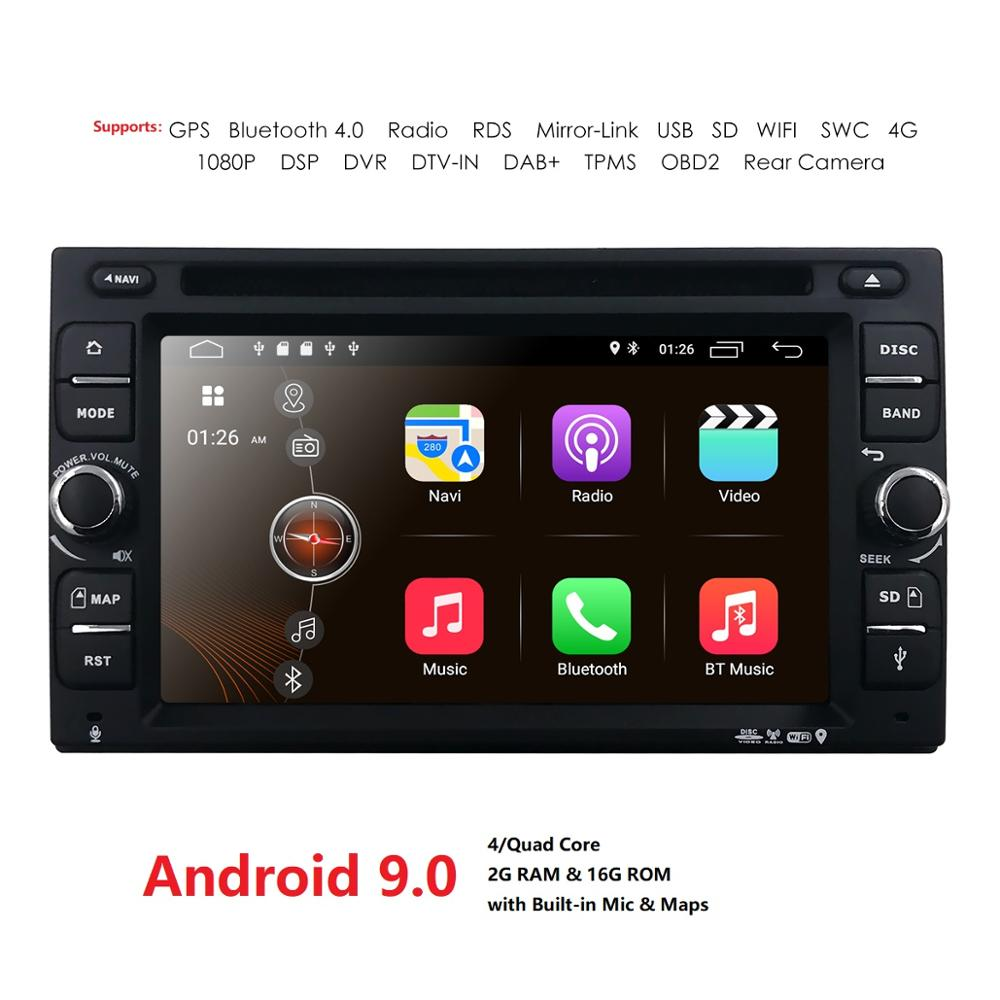 Android 9.0 Auto Radio Ouad Core 6.2Inch 2DIN Universal Car DVD player GPS Stereo Audio Head unit 4GWIFI DAB DVR OBD2 SWC 2G+16G
