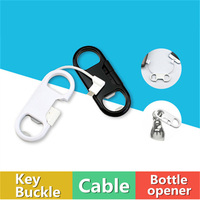 3in1 Portable Bottle Opener Key Buckle USB Cable Sync Data Transfer Adapter Fast Charger Speed For