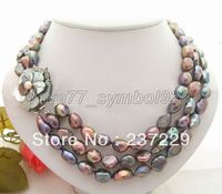 FREE SHIPPING>>>@@ Wholesale price S ^^^^Excellent ! Baroque Pearl Necklace Cameo Clasp
