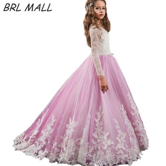 1769f295709 Custom Made Purple Long Sleeves Flower Girl Dress 2018 Cheap Kids Ball gowns  Lace appliques first communion dresses for girls