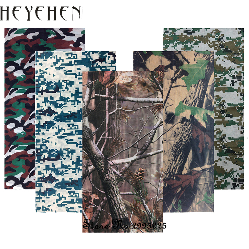 Camouflage lämnar Bandana Unisex Scarves Army Multifunktion Sömlösa Tubular Bandanas Face Magic Headband HY24