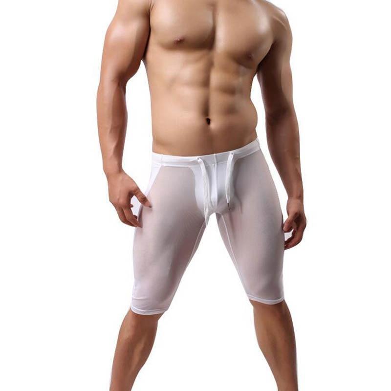 KWAN.Z Mens Sheer Pajamas Brand-clothing Transparent Celos Sexy Mesh Pajamas For Men Sleepwear Silk Loose Pants Mens Nightwear