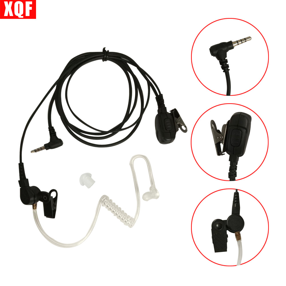 XQF Walkie Talkie Earpiece Mic PTT Headset For YAESU VERTEX 3.5mm 1-Pin Ham Radio Hf Transceiver With Acoustic Tube