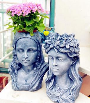 Outdoor Gardening Cement Mona Lisa Goddess Portrait Flower Pot Prnaments Courtyard Garden Decoration Villa Park Furnishing Craft