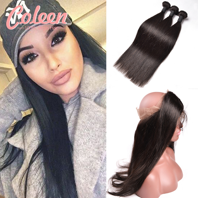 360 Lace Frontal With Bundle 7A Malaysian Virgin Hair Straight With 360 Closure With Human Hair Bundles Pre Plucked 360 Frontal