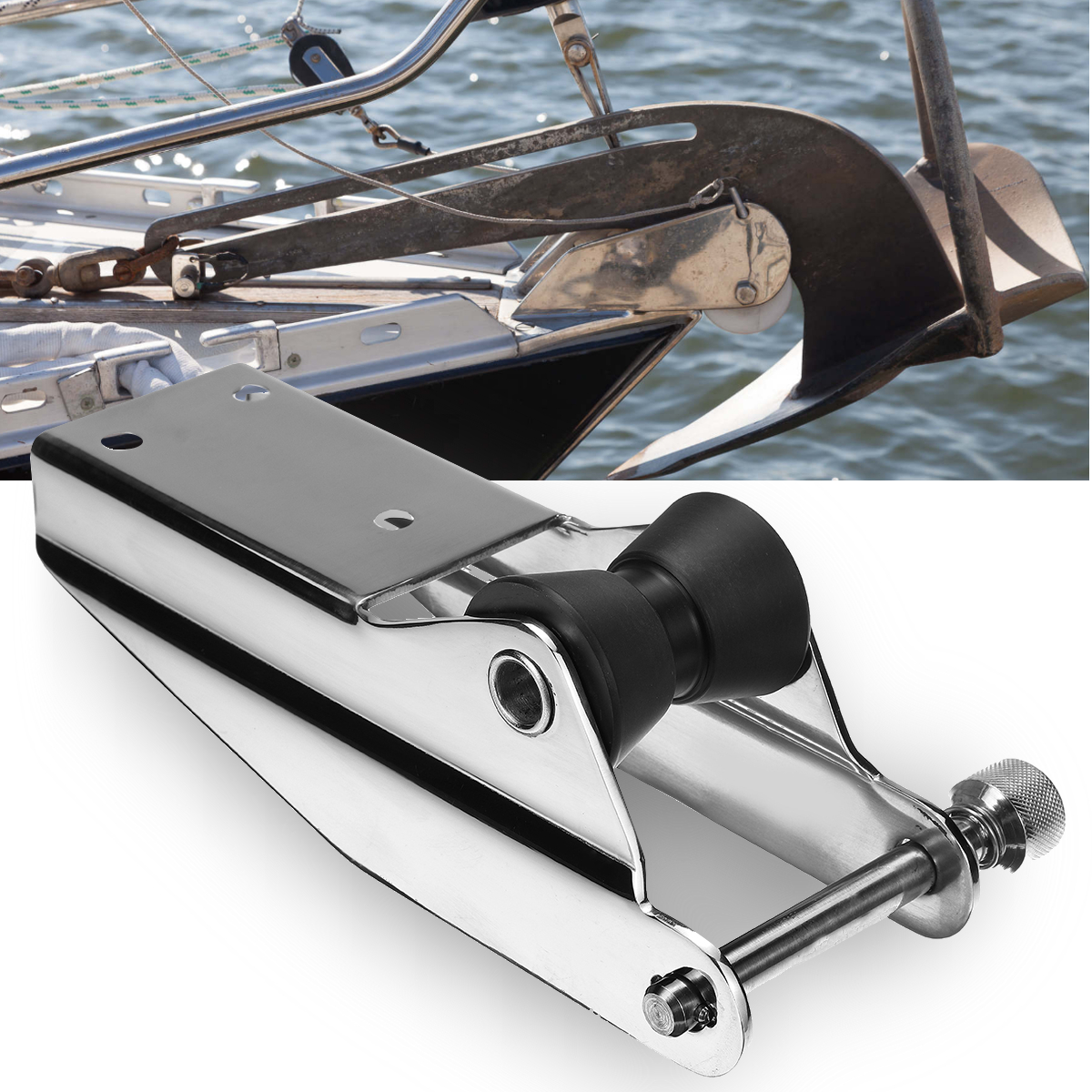 316 Stainless Steel Heavy Duty Bow Anchor Roller For Fixed Marine Boat Docking Black Nylon Roller Spring Loaded Pin Prevent