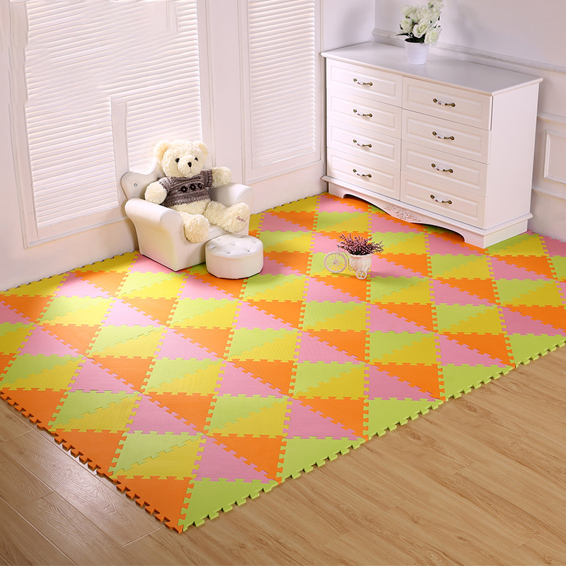Meitoku EVA Foam Play Mat,Kid Puzzle Triangle Mat,Soft Interlocking Tiles,Baby Rug Carpet,24-96pcs/lot!