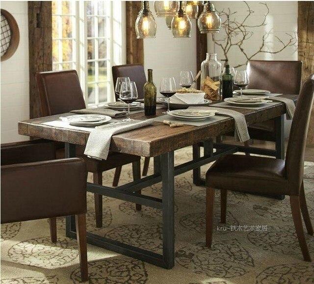 american iron bois table manger rustique meubles rtro vieille table de pin bureau bureau d