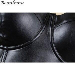 Женский корсет BEONLEMA, Черный корсет из искусственной кожи, одежда в стиле стимпанк, корсаж большого размера