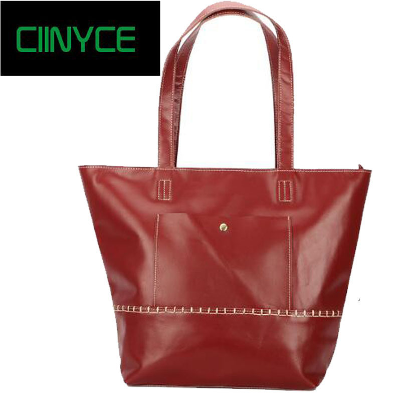 Brand women genuine leather female Nature Skin shoulder with large capacity ladies handbag high quality Casual Tote bags casual women shoulder bags high quality leather knitting female big tote bags for ladies handbag large capacity composite bag