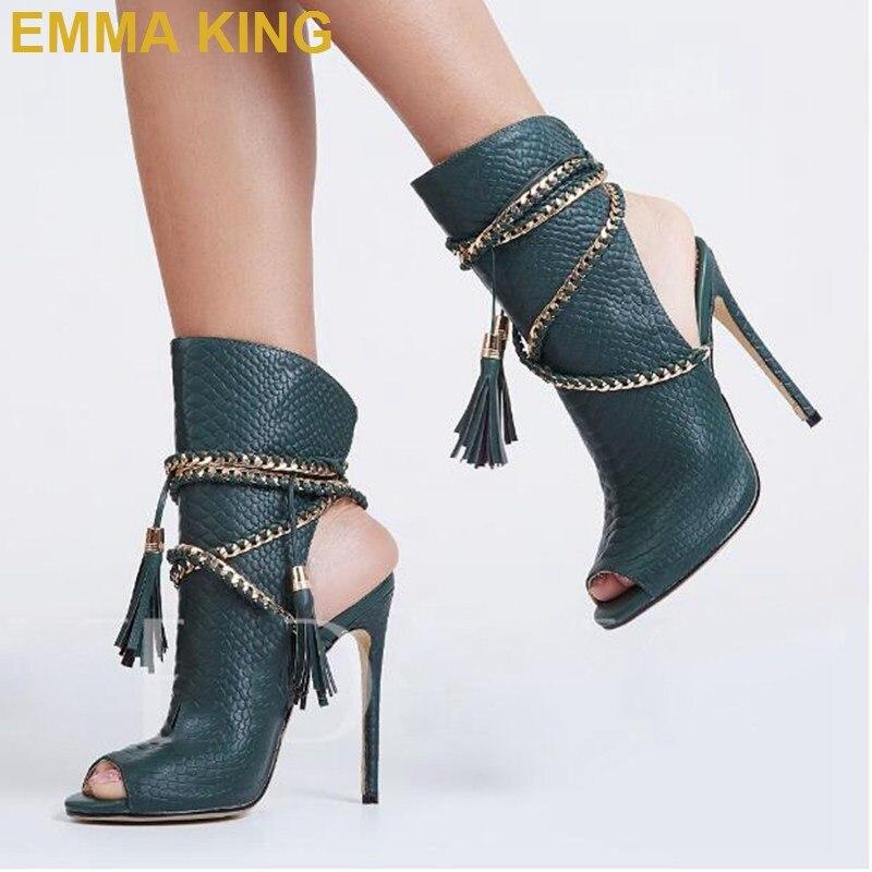 Sandalias de verano de piel de serpiente Sexy botas de tobillo Cadena de borla zapatos de tacón alto de mujer de diseñador de moda señoras sandalias de cuerda tamaño grande 11 - 3