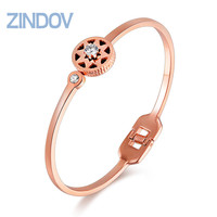 Hot Fashion Gold Bangles Bracelet For Women Crystal Famous Brand Luxury Ladies Stainless Steel Rose Gold