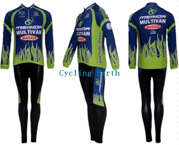 3D Silicone!!! Merida long sleeve cycling wear clothes bicycle/bike/riding jerseys+pants sets s-4xl