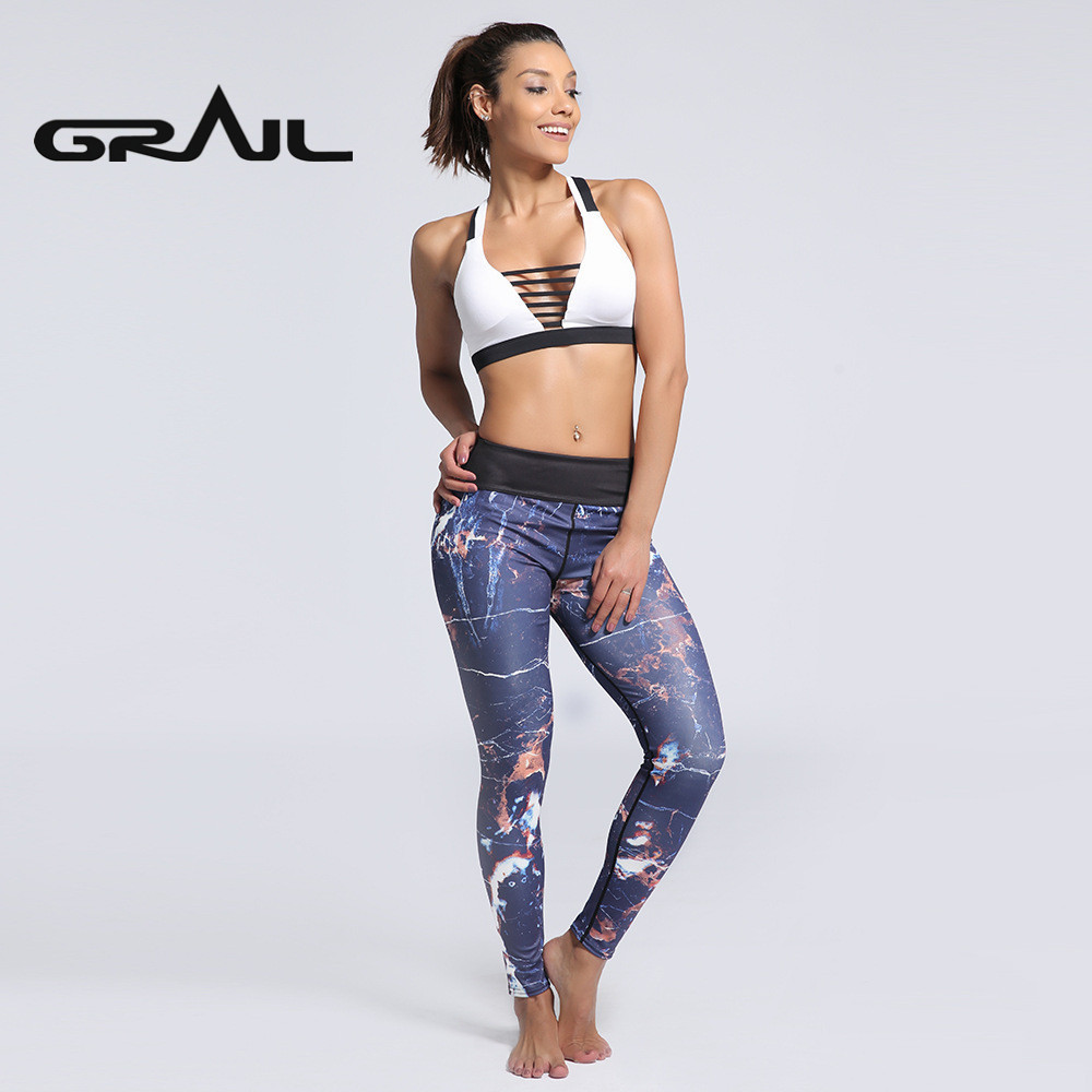 9836e05a6a61d Woman Stylish Yoga Pants Leggings Marbling 3D Digital Print Fitness Gym  Leggin Elasticity Mid High Waist Trousers YOGA-0162
