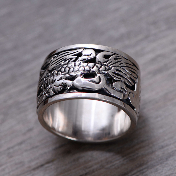 KJJEAXCMY Boutique jewelry 925 sterling silver jewelry, domineering, wide finger ring, dragon pattern transport ring, mens ring