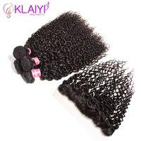 Klaiyi Продукты для волос фронтальные с пучками человеческих волос Плетение индийские Кули волос с фронтальной 13X4 уха до уха Кружева Закрытие