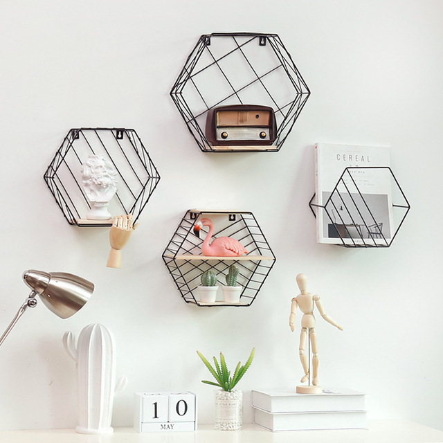 1*White Black Hexagon Grid Floating Shelf Wrought Iron Wall-mounted Storage Iron Basket Rack For Flower Pots Toys Modern Nordic
