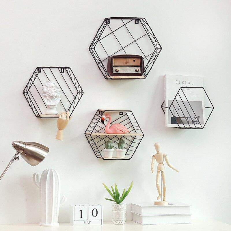 1*White Black Hexagon Grid Floating Shelf Wrought Iron Wall-mounted Storage Iron Basket Rack For Flower Pots Toys Modern Nordic