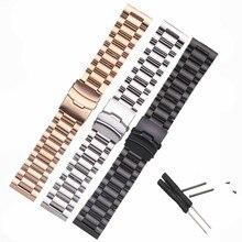 Купить с кэшбэком 26mm For Garmin Fenix3 Smart Watchband Black Silver Bracelet Stainless Steel Metal Watch Band Strap + 2pcs Screw + 2pcs Tool