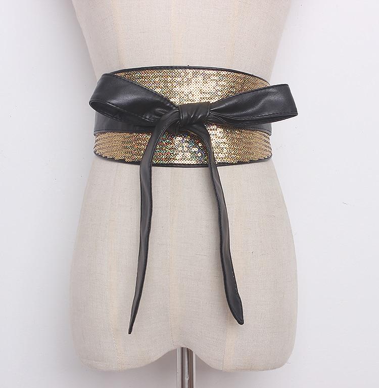 Women's Runway Fashion Sequins Pu Leather Cummerbunds Female Vintage Dress Corsets Waistband Belts Decoration Wide Belt R1278