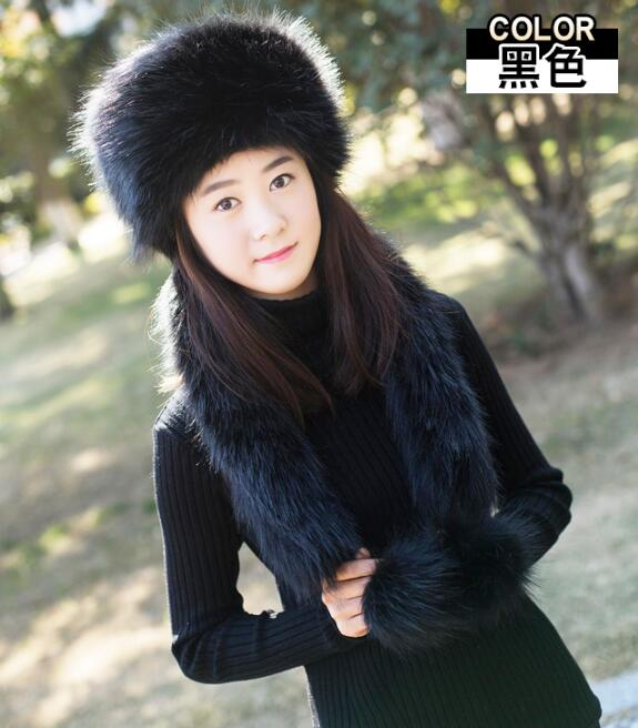 d25a074c039 Winter Faux Fluffy Fox Fur Snow Caps for Girls Women s Fake Fur Hat Russia  Thickening Men Warm Hat Scarf With 2 Long tails FY20 -in Skullies   Beanies  from ...