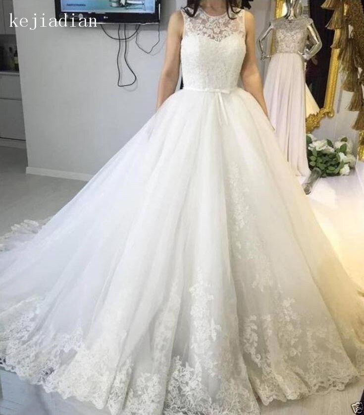 Robe de mariage Elegant A-Line Lace Bridal Gown Wedding Dress wedding gown appliques Custom Made Vestidos De Novia 2018