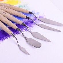 5 шт. набор скребок для палитры из нержавеющей стали набор Ножи-шпатели нож для рисования деревянная ручка инструменты для рисования маслом
