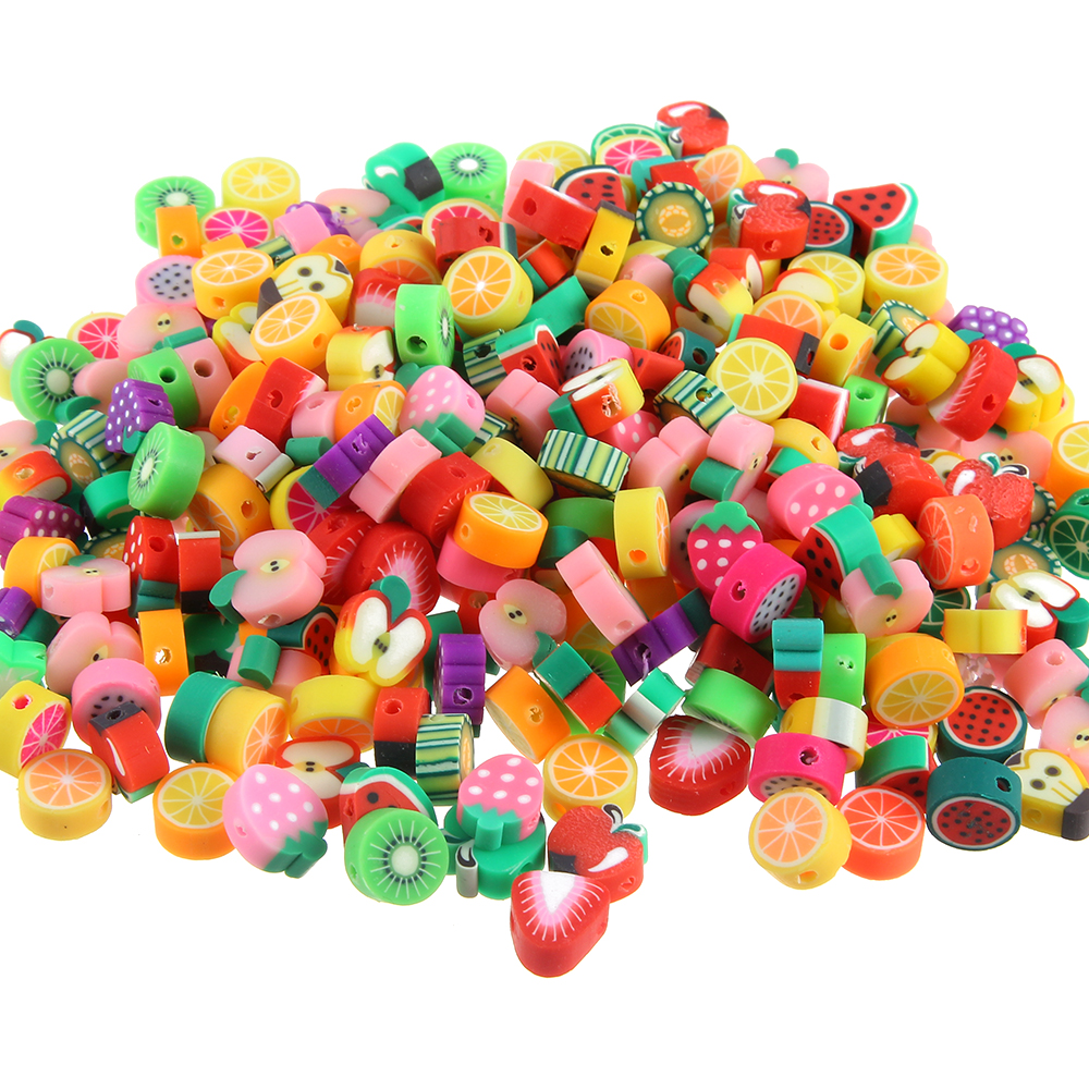 100Pcslot DIY Jewelry Polymer Clay Beads Fruit Pieces Mix Design Bracelet Accessory Fimo Slices Jewelry Making