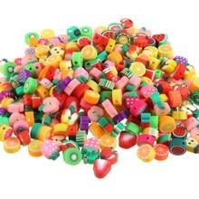 100 pçs/lote diy jóias polímero argila contas frutas mistura design pulseira acessório fatias jóias