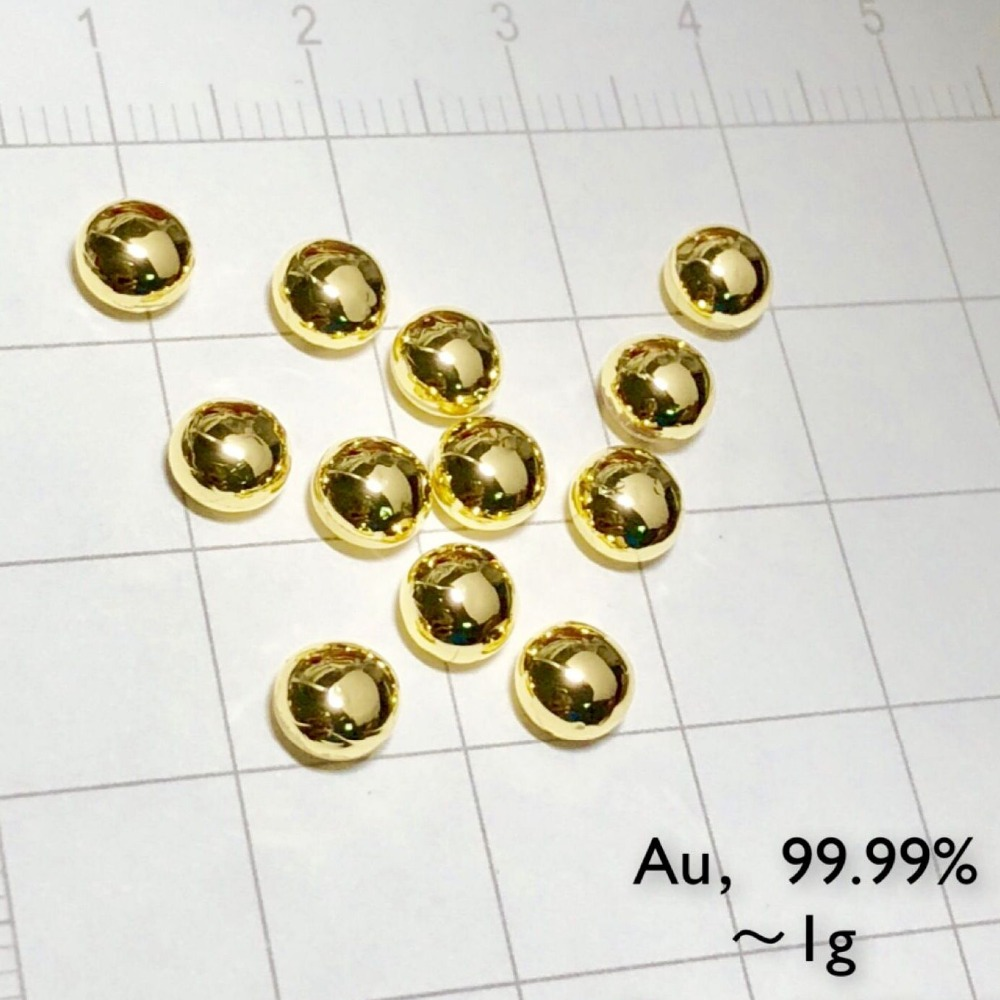 solid Gold metal bead 1 gram 99 99 pure element 79 sample