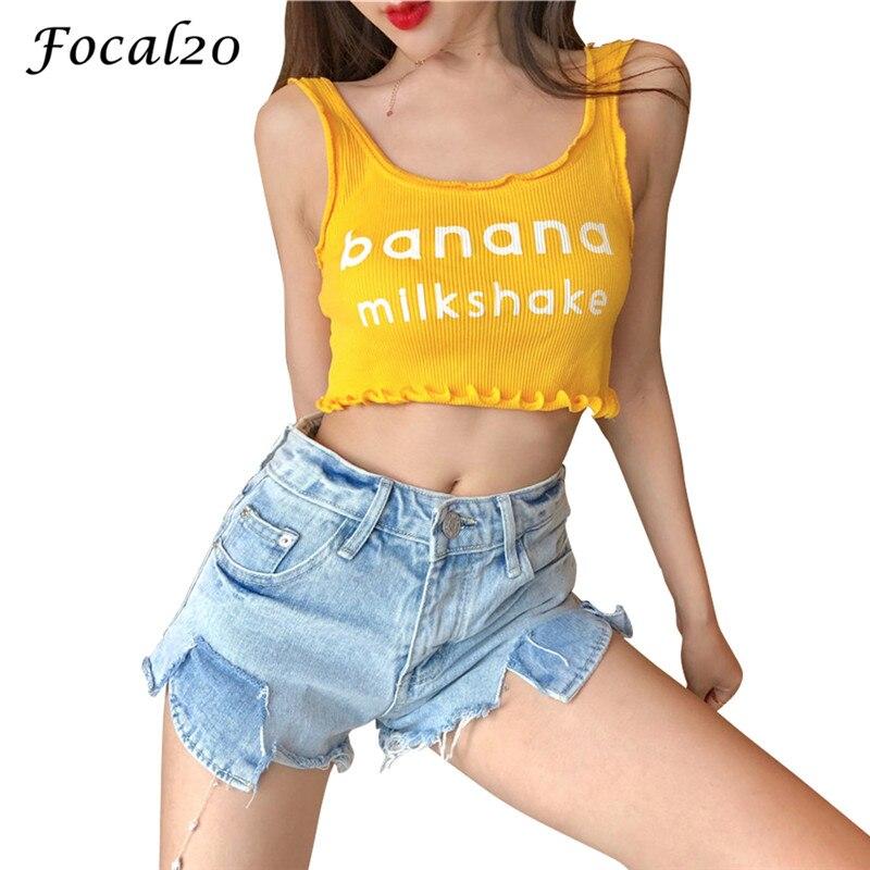 Focal20 Streetwear Letter Print Ruffles Women   Tank     Top   Summer Casual Sleeveless Slim Female Crop   Top     Tank     Top