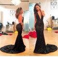 Sexy Negro Sirena Vestido de Fiesta Con Cuello En V Profundo Backless Largo Vestidos de Baile 2016 Con Cuentas de Lentejuelas Tribunal Tren vestidos de Noche Del Partido de Baile Vestido