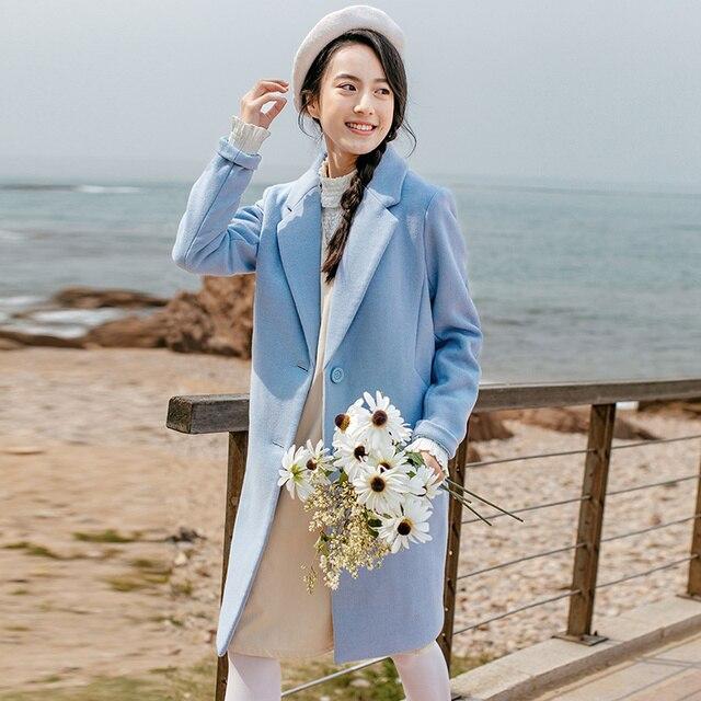 Инман Женская Новинка зимы повседневное элегантный стиль одной кнопки шерстяные женский шерстяной женская мода пальто длинное