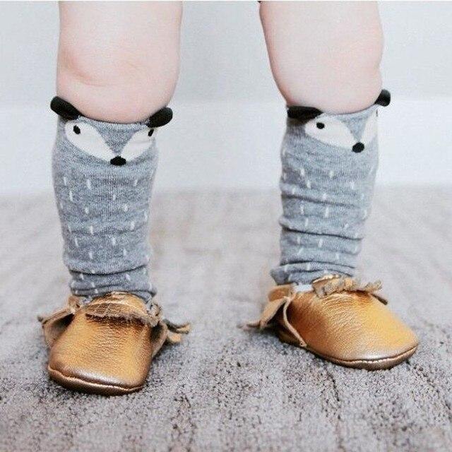 1 Pair Unisex Lovely Cute Cartoon Fox Kids baby Socks Knee Girl Boy Baby Toddler Socks animal infant Soft Cotton socks 0-3 Y 3