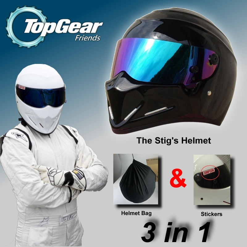 TopGear The STIG Helmet Capacete Casco De & Bag + SIMPSON Sticker For Gifts / Bright Black Helmet + Colorful Visor For Top Gear for top gear the stig helmet with silver visor tg collectable like simpson pig yellow motorcycle helmet you re the stig
