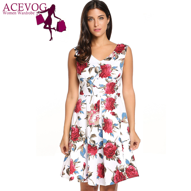 14fa61465ffb ACEVOG Women Rose Print Dress Summer Autumn Casual Sleeveless V Neck Knee  Length Vintage Stretchy Zipper Tank Swing Dresses