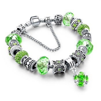 Women's Tibetan Silver Charm Bracelet Bracelets Jewelry Women Jewelry Metal Color: 278 green