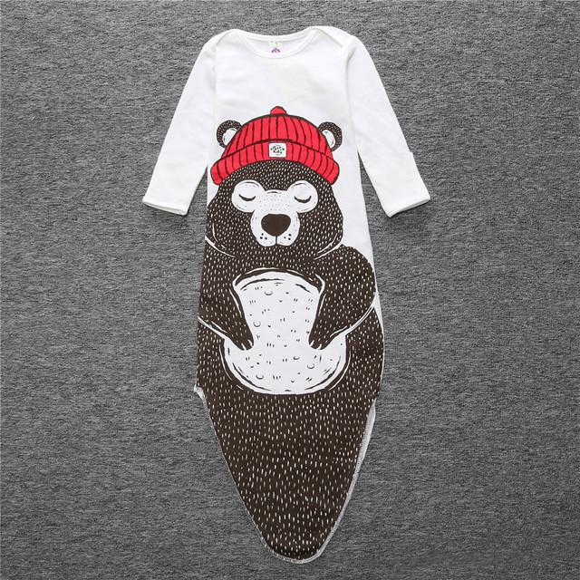 Vetements moda infantil saco de dormir do bebê crianças de algodão de manga longa sleepwear bebê urso menino
