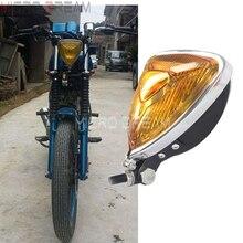 Faro delantero Estilo Vintage Aris para motocicleta 55w H3 lente ámbar triangular para Harley Chopper Scrambler Cafe Racer