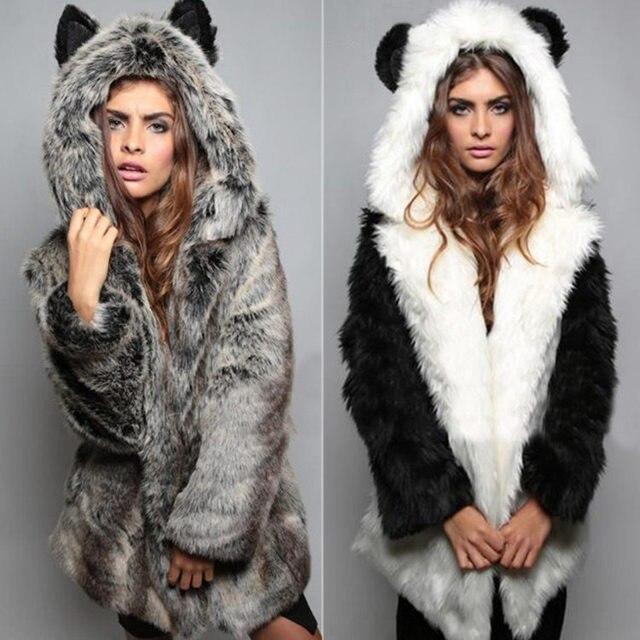 335069ab4ff2 Fourrure et Fausse Fourrure D hiver Longue Veste Manteau Avec Capuche Chat  Oreilles Col Femmes
