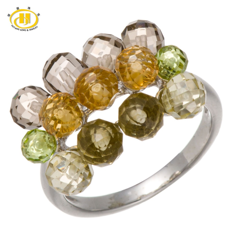 Hutang Natural Multi Color cuentas de piedras preciosas anillos de peridoto citrino de Plata de Ley 925 anillo de plata fina y elegante de la joyería para las mujeres-in Anillos from Joyería y accesorios    1